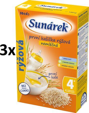 Sunárek První kašička rýžová nemléčná, 3x180g