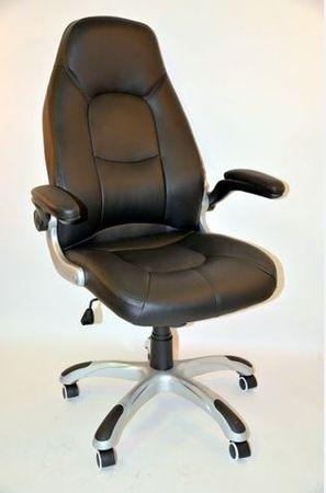 Hyle pisarniški stol K-8332, usnjen, črn