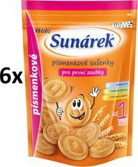Sunárek Písmenkové sušenky pro první zoubky 6x150g