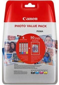 Canon CLI-571XL C/M/Y/BK + 50x PP-201 (0332C005), barevný