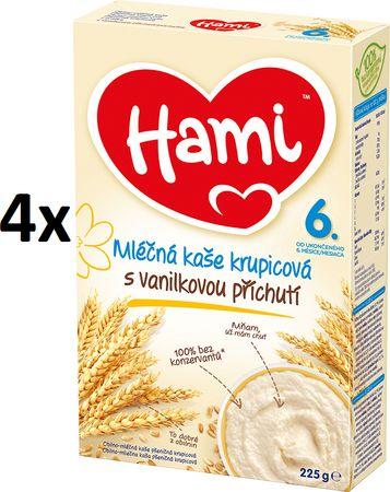 Hami Mliečna kaša krupicová s vanilkovou príchuťou 4x 225g, 6+