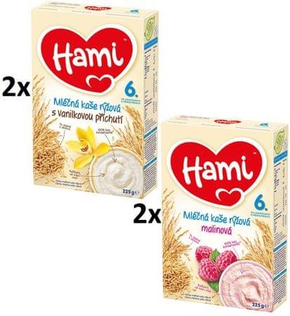 Hami Mliečna kaša s príchuťou vanilky a s malinami - 4 x 225g