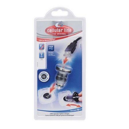 CellularLine auto punjač za mobitel, USB, crn