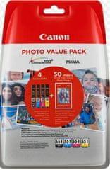Canon CLI-551XL C/M/Y/BK + 50x PP-201 (6443B006), barevná