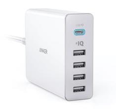 Anker namizni polnilec PowerPort+ 5 60W 1 x USB C, 4 x PowerIQ, črn