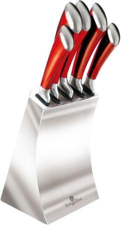 Berlingerhaus stalowy blok z nożami, czerwony, 5 szt.