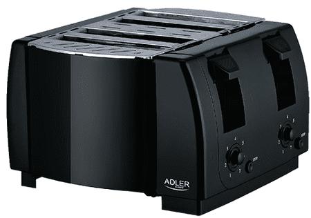 Adler dvojni toaster AD3211, črn