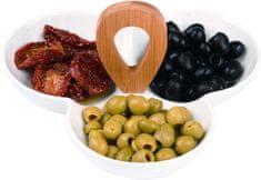 Alpina 97927 Párty stolná porcelánová miska na chuťovky, 3 oddiely