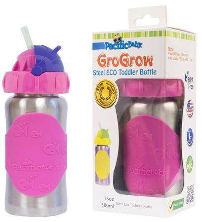 Pacific Baby GoGrow Rozsdamentes ÖKO üveg itatócsőrrel 300 ml - rózsaszín