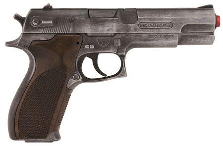 Gonher Policení pistole Gold colection stříbrná kovová 8 ran