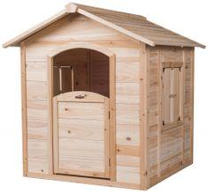Woody lesena hišica z oknom in vrati