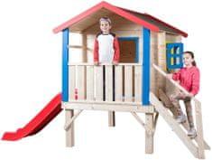 Woody Záhradný domček s podestou, zábradlím a šmýkačkou