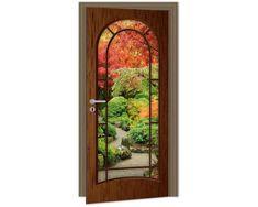 Dimex Fototapeta na dvere DL-018 Tmavé dvere s oknom do záhrady 95 x 210 cm