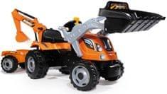 Smoby Builder Max pedálos traktor markolóval és utánfutóval narancssárga