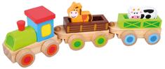 Bino Drewniany pociąg ze zwierzętami 8 elem.