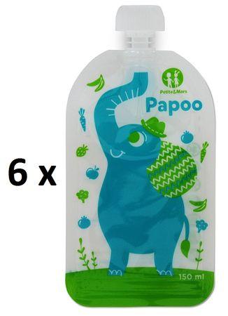 Petite&Mars Vrecko na jedlo Papoo Slon 6 ks