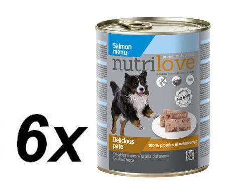 Nutrilove Dog paté SALMON Kutyatáp - 6 x 800g
