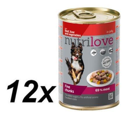 Nutrilove mokra karma dla psa z wołowiną 12 x 415g
