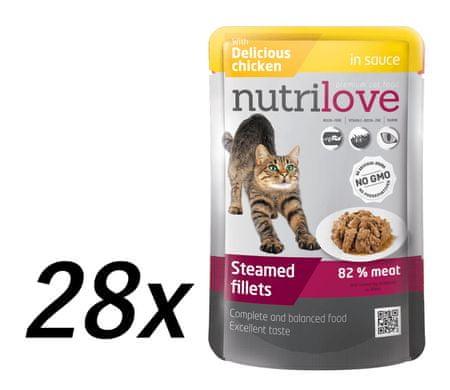 Nutrilove vlažna mačja hrana, piletina 28x85g