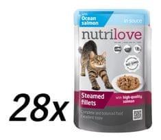 Nutrilove Cat pouch NMP, gravy salmon 28 x 85g