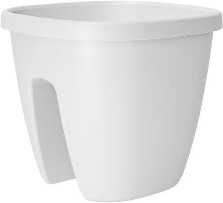 Emsa Kvetináč na zábradlie CITY 30x30 cm, biela