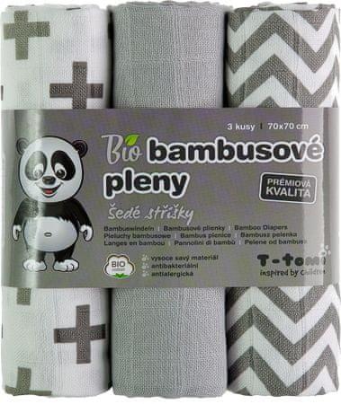 T-tomi BIO bambusove plenice, sivo/beli vzorci