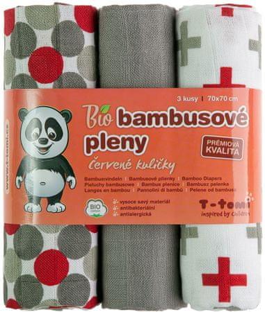 T-tomi BIO Bambusové plienky, červené guľôčky