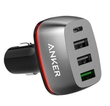 Anker avtopolnilec PowerDrive+ 4, USB-C