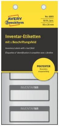 Avery Zweckform etikete za označevanje inventarja, srebrne poliesterske, črna obroba, 50x20 mm, 6905