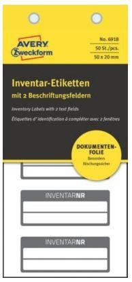 Avery Zweckform etikete za označevanje inventarja, NoPeel, črna obroba, 50x20 mm, 6918