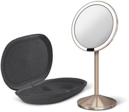 Simplehuman potovalno ogledalo s Tru-lux LED osvetlitvijo, 10-kratna povečava, rosegold