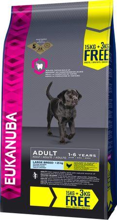Eukanuba suha hrana za odrasle pse Adult Large Breed 15 kg + 3 kg gratis