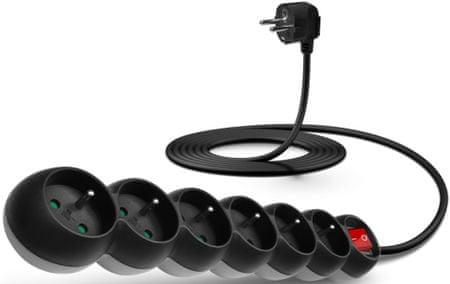 Connect IT Prodlužovací kabel (6 zásuvek; 3 m), černá