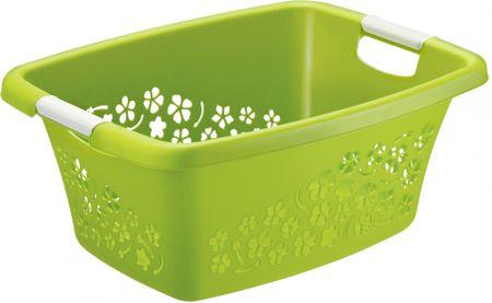 Rotho Tiszta ruhákra alkalmas kosár Flowers 25 l, zöld