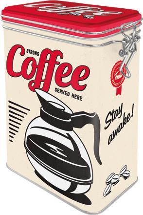 Postershop Plechová dóza s klipom Strong Coffee Served Here