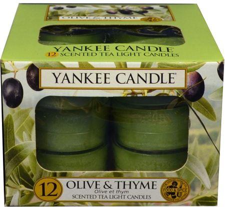 Yankee Candle Čajové svíčky Olive & Thyme 12x 9,8 g