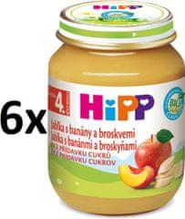 HiPP BIO Jablka s banány a broskvemi - 6 x 125g