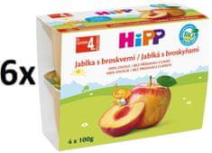 HiPP BIO Jablká s broskyňami - 6x (4x100g)