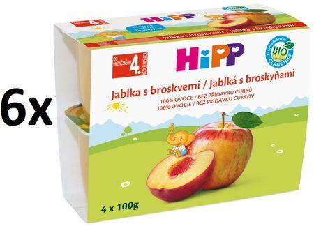 HiPP BIO Jablka s broskvemi - 6x(4x100g)