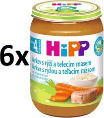HiPP BIO Karotka s ryžou a teľacím - 6 x 190g