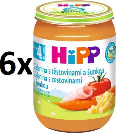 HiPP Zelenina se šunkou a těstovinami - 6x190g