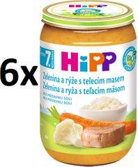 HiPP BIO Zelenina s ryžou a teľacím mäsom - 6x220g