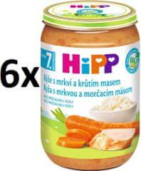 HiPP BIO Ryža s karotkou a morčacím mäsom - 6x220g