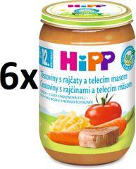 HiPP BIO Cestoviny s paradajkami a teľacím mäsom - 6x220g