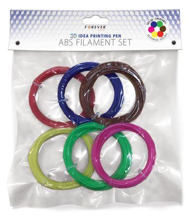 Forever długopis 3D - Zestaw filamentów: czerwony, niebieski, zielony, żółty, brązowy, różowy