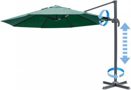 MAKERS Verona - 3,5 m oldalsó napernyő, sötét zöld