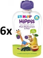 HiPP BIO 100% ovocia Hruška-Čierne ríbezle-Slivka 6 x 100 g