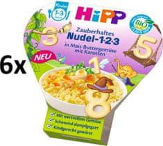 HiPP BIO Těstoviny 123 s kukuřicí, zeleninou a mrkví - 6 x 250g exp. 08/2019