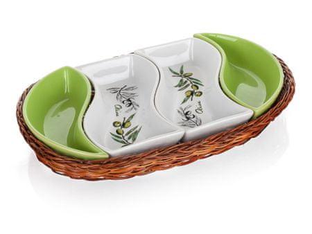 Banquet pladenj v košarici OLIVES 30,5 cm, štiridelen