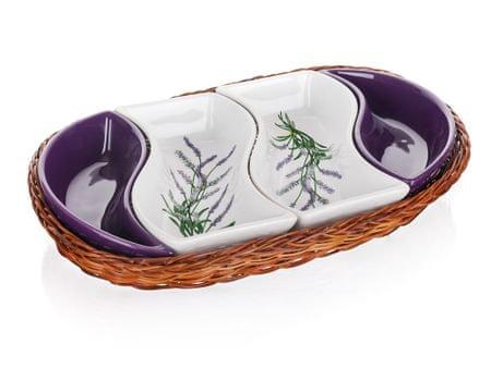 Banquet taca z miskami LAVENDER, 4 części